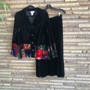 Coldwater Creek Black Velvet Patchwork Outfit